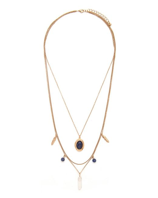 Forever 21 | Blue Faux Stone Layered Necklace | Lyst