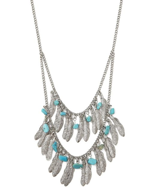 Forever 21 | Metallic Feather Layered Necklace | Lyst