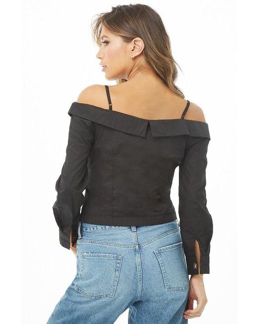 ab09710bf0f ... Forever 21 - Black Open-shoulder Crop Top - Lyst ...