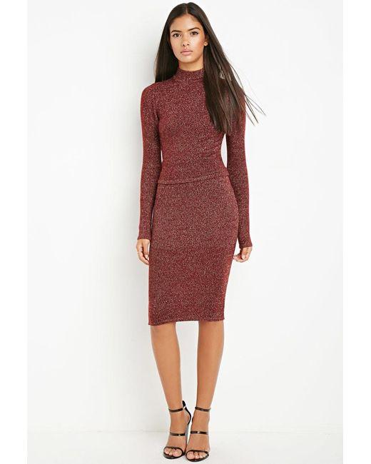 Forever 21 | Red Metallic Knit Sweater Skirt | Lyst