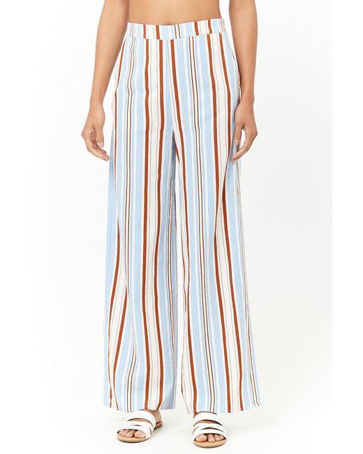 b4b69a48f3abd2 ... Forever 21 - Blue Striped Wide-leg Trousers - Lyst