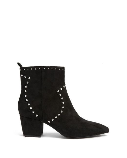 Forever 21 - Black Studded Faux Suede Booties - Lyst