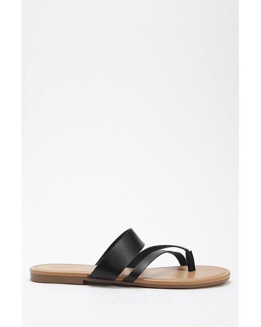 Forever 21 - Black Strappy Faux Leather Sandals - Lyst