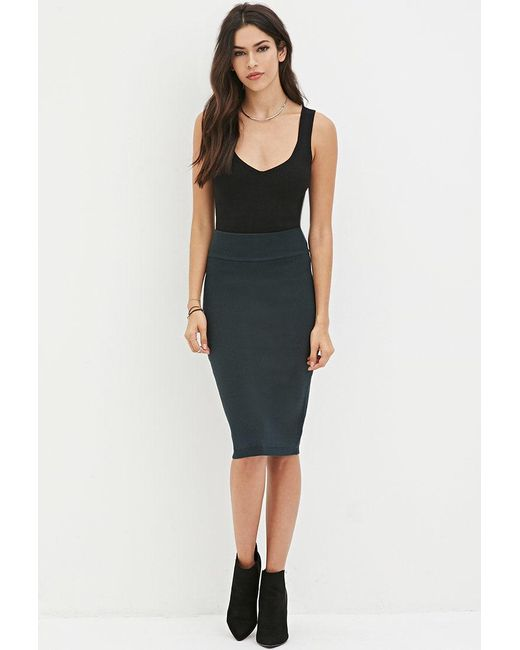 Forever 21 | Green Sweater-knit Pencil Skirt | Lyst