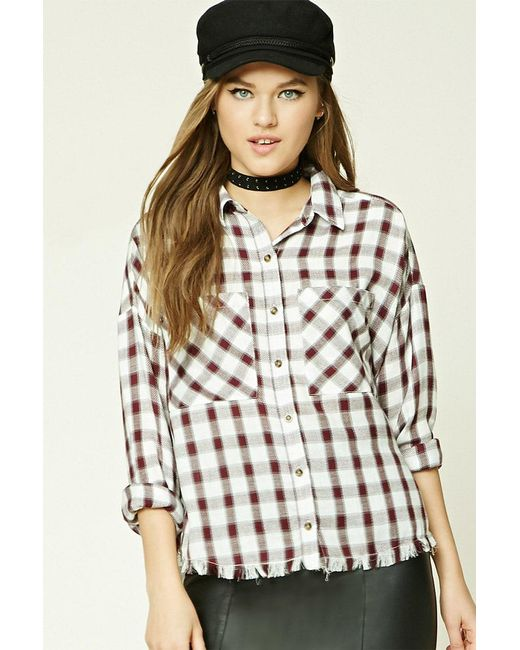Forever 21 - Natural Frayed Check Shirt - Lyst