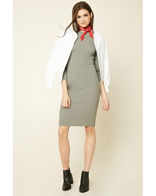 Forever 21 | Gray Midi Bodycon Sweater Dress | Lyst