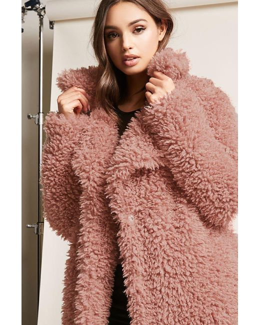 Forever 21 | Purple Boucle Knit Button-front Coat | Lyst