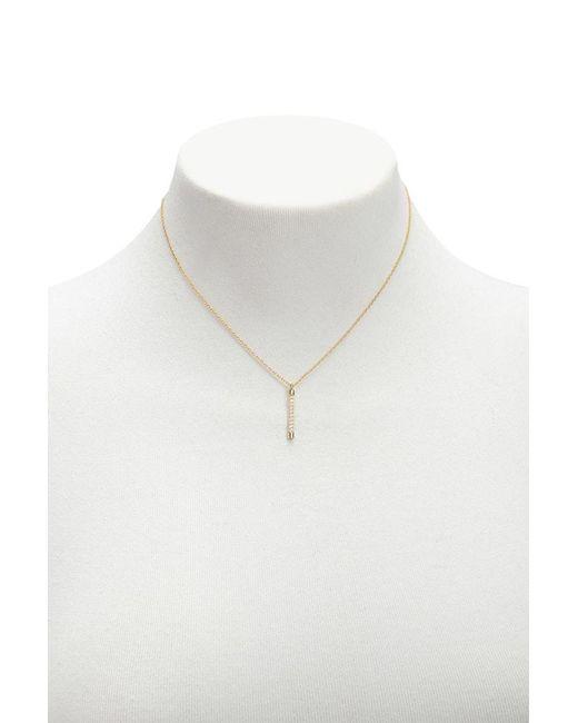 Forever 21 - Metallic Women's Rhinestone Matchstick Pendant Necklace - Lyst