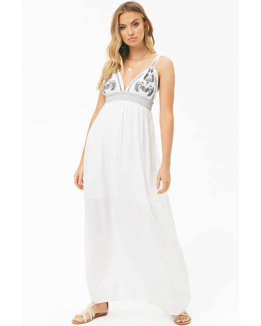 Forever 21 - White Boho Me Embroidered Maxi Dress - Lyst