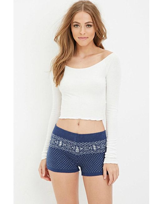 Forever 21 | Blue Fair Isle-patterned Shorts | Lyst