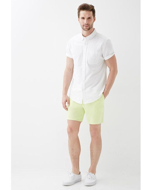 Forever 21 - Green Cotton Twill Drawstring Shorts for Men - Lyst