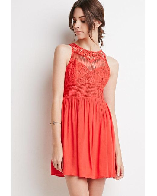Forever 21 | Orange Embroidered Crepe Combo Dress | Lyst