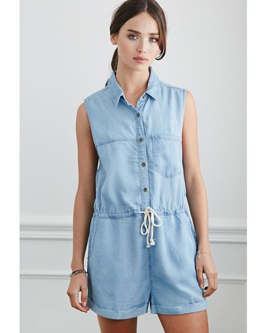 Forever 21 | Blue Buttoned Chambray Playsuit | Lyst