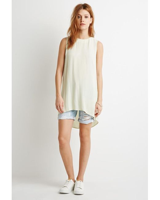 Forever 21 | Green Contemporary Side-slit Textured Tunic | Lyst