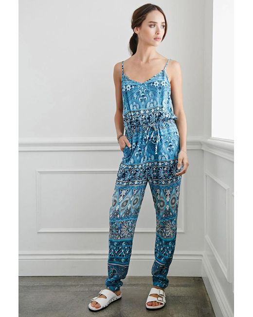 Forever 21 | Blue Striped Floral Drawstring Jumpsuit | Lyst
