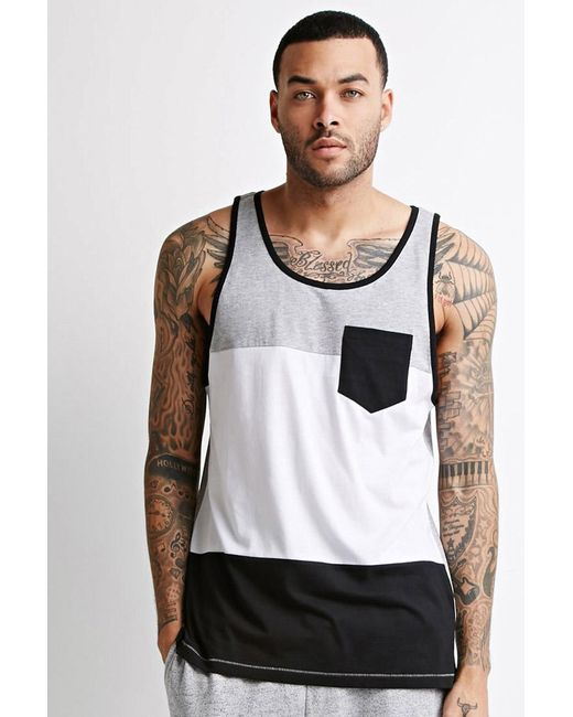 Forever 21 | Gray Heathered Colorblock Pocket Tank for Men | Lyst