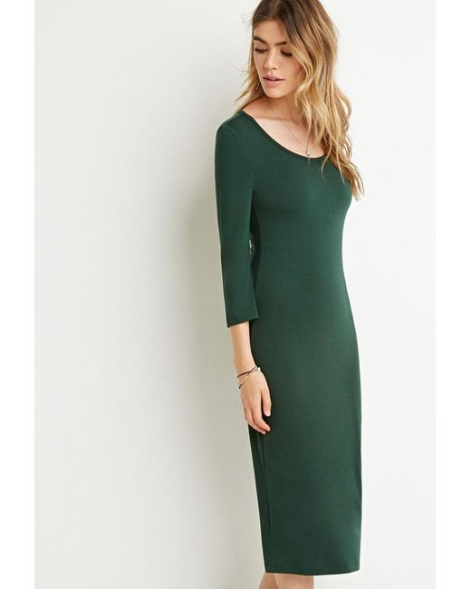 Forever 21 | Green Bodycon Midi Dress | Lyst