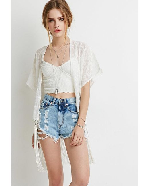 Forever 21   Natural Fringed Floral-embroidered Kimono   Lyst