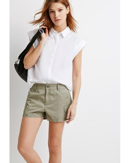 Forever 21 | Green Utility Pocket Shorts | Lyst