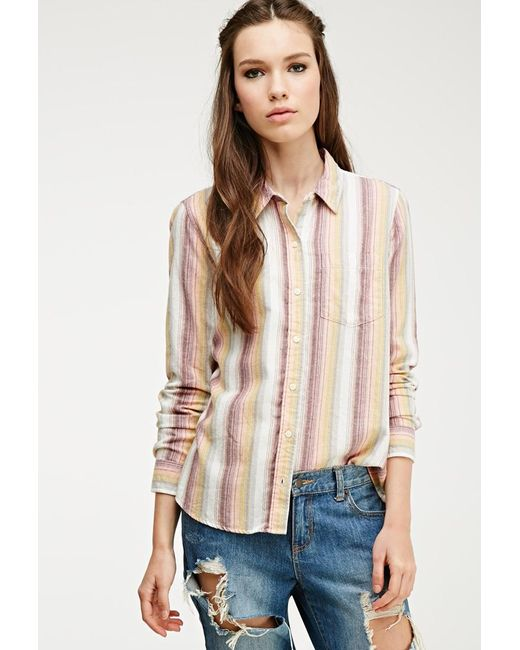 Forever 21   Yellow Multi-striped Flannel Shirt   Lyst