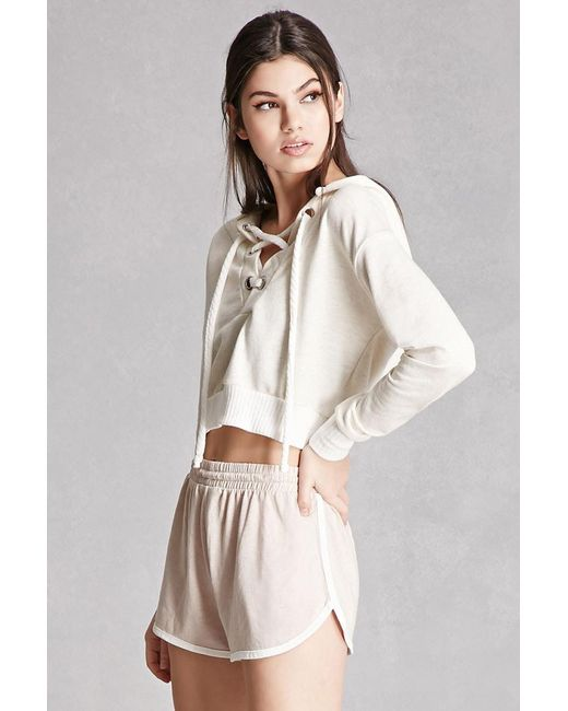 07954f2631f2 Forever 21 Cropped Lace-up Hoodie