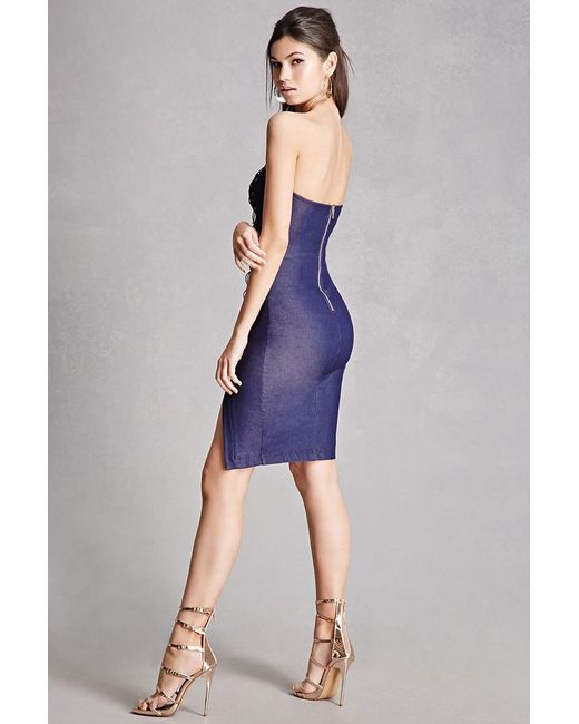 Forever 21 Lace-up Denim Bodycon Dress in Blue | Lyst - photo #27