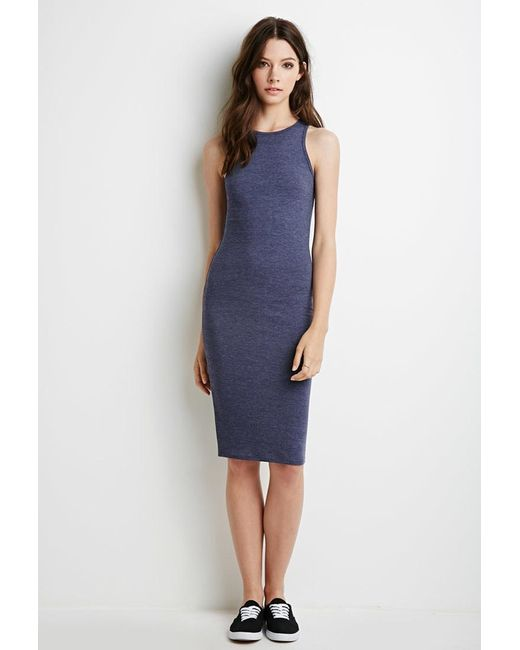 Forever 21 | Blue Heathered Midi Dress | Lyst