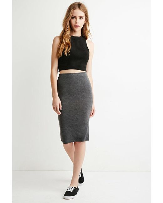 Forever 21 | Gray Heathered Pencil Skirt | Lyst