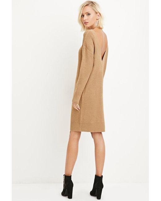 Forever 21 | Natural V-back Jumper Dress | Lyst