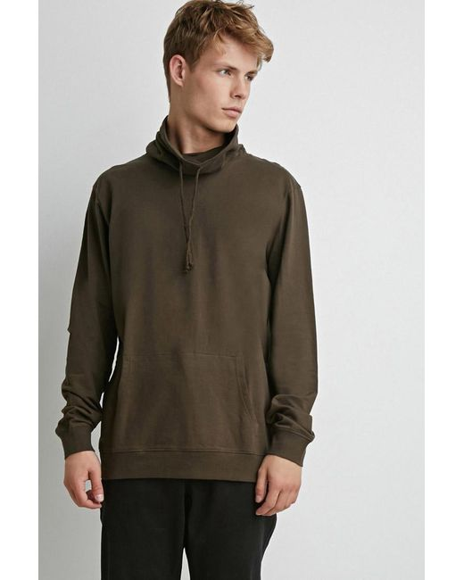 Forever 21 | Green Drawstring Funnel Neck Pullover for Men | Lyst
