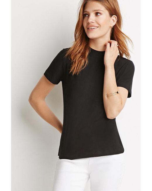Forever 21   Black Contemporary Mock-neck Top   Lyst