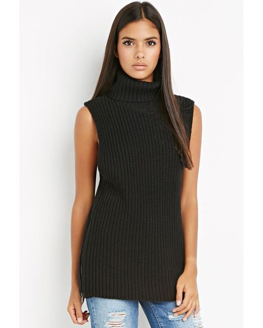 Forever 21 | Black Contemporary Zippered Turtleneck Tunic | Lyst