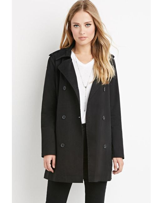 Forever 21 | Black Double-breasted Trench Coat | Lyst