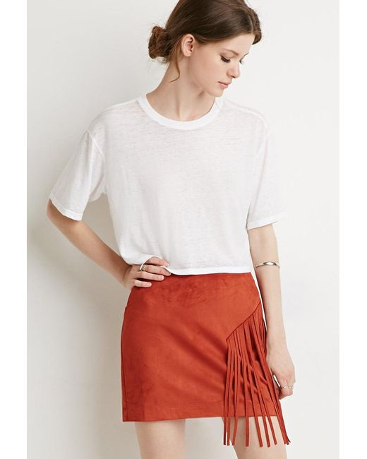 Forever 21 | Orange Contemporary Fringed Faux Suede Skirt | Lyst