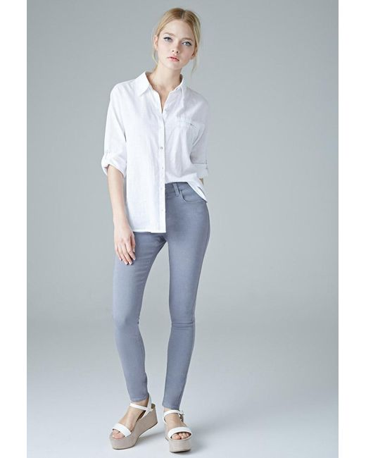 Forever 21 | Gray Mid-rise Skinny Jeans | Lyst