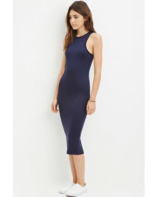 Forever 21 | Blue Racerfront Bodycon Dress | Lyst