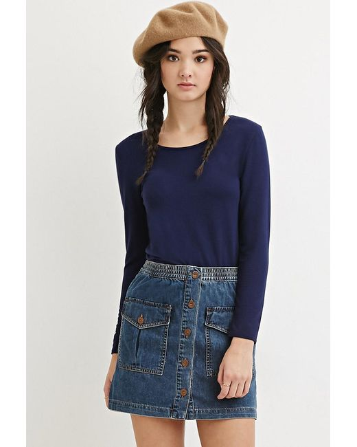 Forever 21 | Blue Stretch Knit Scoop-neck Top | Lyst