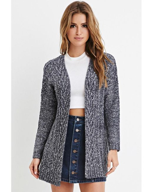 Forever 21 | Blue Cable Knit Cardigan | Lyst