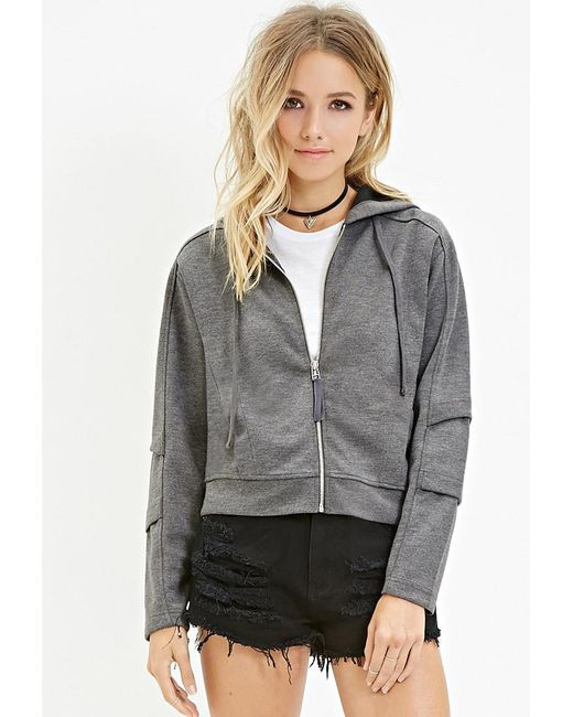Forever 21 | Gray Zip-up Paneled Hoodie | Lyst