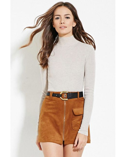 Forever 21 | Natural Contemporary Mock Neck Ribbed Sweater | Lyst