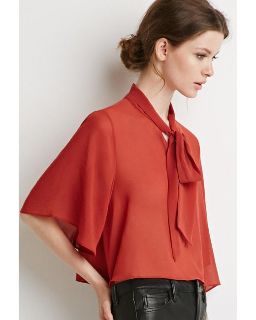Forever 21 | Brown Self-tie Neck Cropped Blouse | Lyst