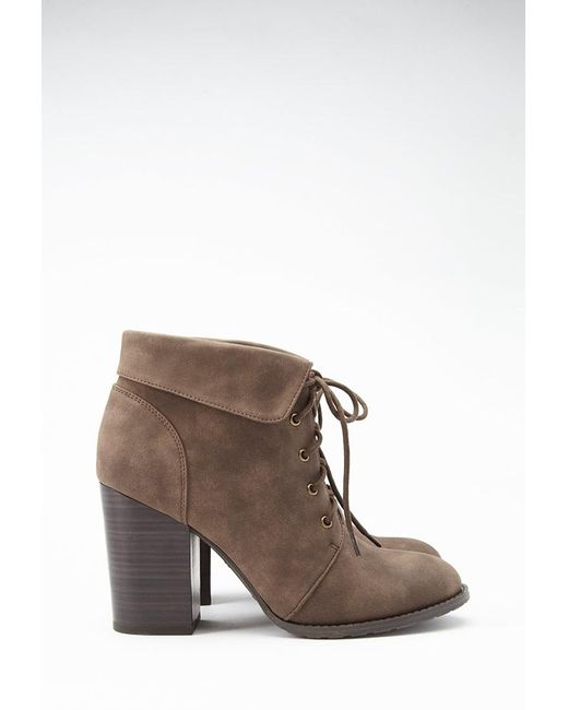 Forever 21   Brown Lace-up Booties   Lyst