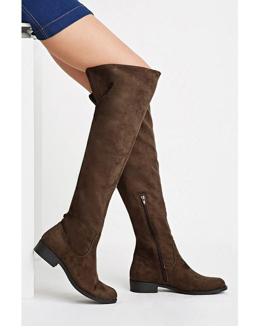 Forever 21 | Green Over-the-knee Faux Suede Boots | Lyst