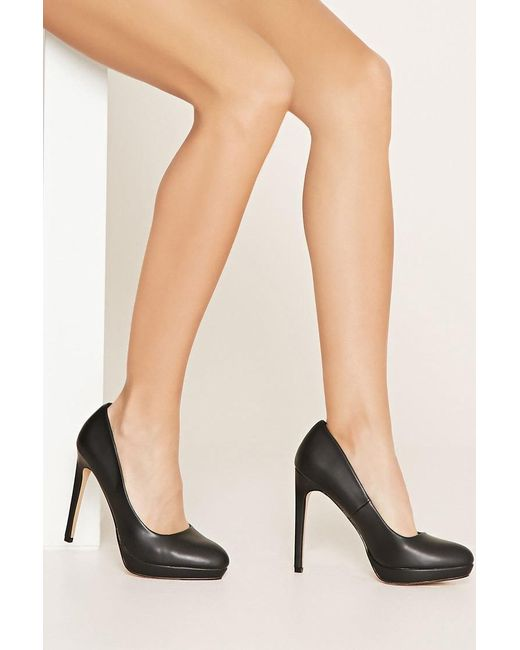 Forever 21 | Black Classic Faux Leather Heeled Shoes | Lyst