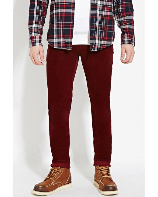 Forever 21 | Red Slim Fit Corduroy Pants for Men | Lyst