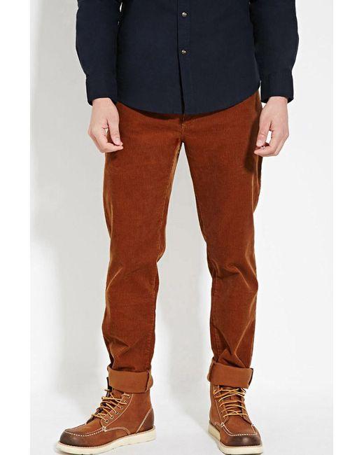 Forever 21   Brown Slim Fit Corduroy Pants for Men   Lyst