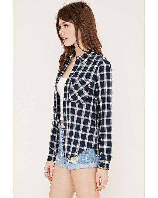 Forever 21 Check Flannel Shirt In Blue Lyst