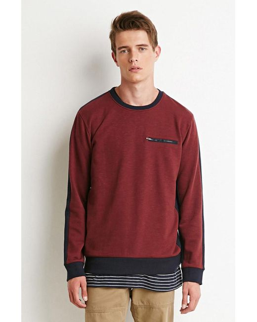 Forever 21 | Purple Colorblocked Zip-pocket Sweatshirt | Lyst