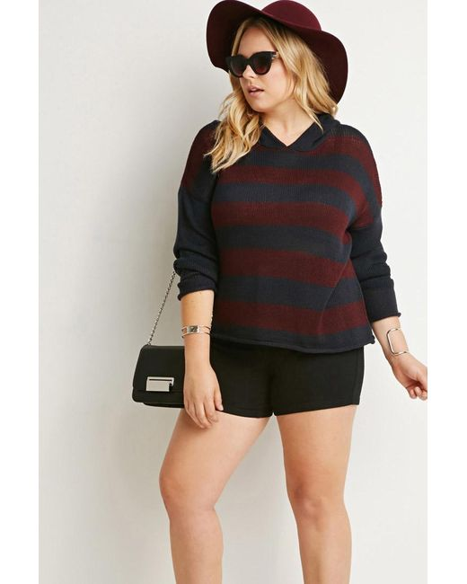 Forever 21 | Red Hooded Stripe Sweater | Lyst