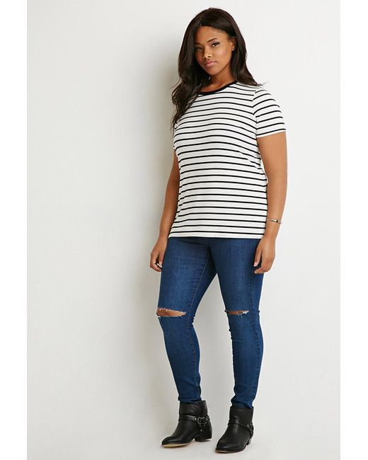 Forever 21 | Black Plus Size Contrast-trim Striped Tee | Lyst